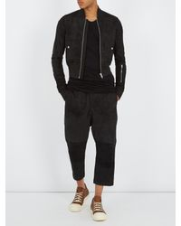 Rick Owens - Black Dropped-crotch Leather Cropped Trousers for Men - Lyst