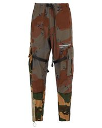 Off-White c/o Virgil Abloh Brown Contrast Camouflage Print Trousers for men