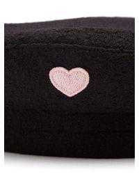 Federica Moretti Black Basquet Heart Appliqué Wool Cap