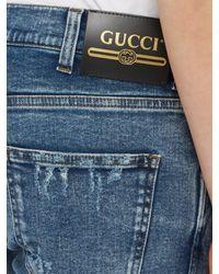 Jean droit en denim Gucci pour homme en coloris Blue