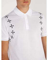 Neil Barrett White Military Star Appliqué Cotton Polo Shirt for men