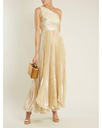 Maria Lucia Hohan Multicolor Atheer One-shoulder Pleated Silk-blend Gown