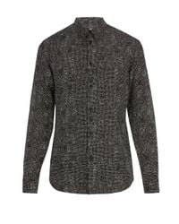 Givenchy Black Dot Print Cotton And Silk Blend Shirt for men