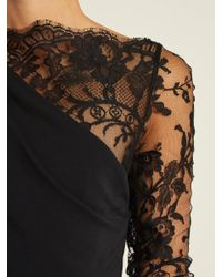Alexander McQueen - Black One-shoulder Lace And Crepe Gown - Lyst