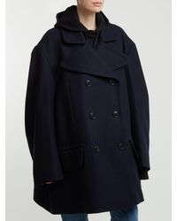 Vetements Blue Oversized Double Breasted Wool Blend Coat