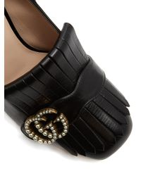 Gucci - Black Marmont Fringed Leather Pumps - Lyst