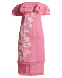 Mary Katrantzou Pink Angelica Embroidered Off-the-shoulder Ruffle Dress