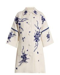 Andrew Gn Multicolor Floral-embroidered Linen Coat