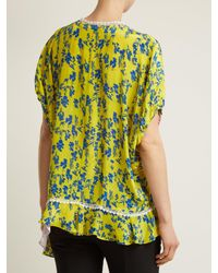 Preen Line Yellow Ivy Floral-print Lace-trimmed Blouse