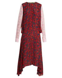 Preen Line Red Eimear Panelled Floral Print Crepe Dress