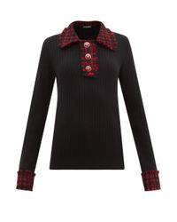 Dolce & Gabbana ツイードトリム ウールブレンドセーター Black