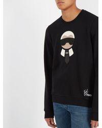 Fendi Black Karlito Logo-appliqué Wool-blend Sweatshirt for men