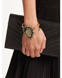 Alexander McQueen - Multicolor Pyrite-embellished Double-ring Cuff - Lyst