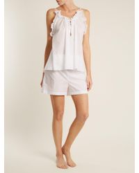 Three Graces London - White Alcina High Rise Cotton Pyjama Shorts - Lyst