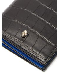 Alexander McQueen - Black Bi-fold Crocodile-effect Leather Wallet for Men - Lyst