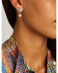 Miu Miu   Metallic Crystal-star Sterling-silver Earrings   Lyst