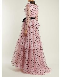 Valentino Pink Ruffle And Lace-trimmed Silk-organza Gown