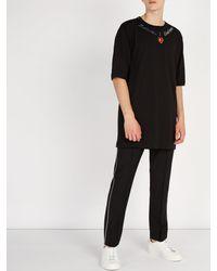 Dolce & Gabbana Black L'amore E Bellezza Appliqué Cotton T Shirt for men