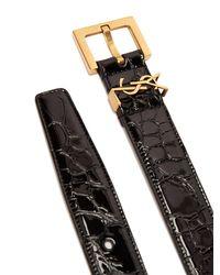 Ceinture en cuir verni effet crocodile Monogramme Saint Laurent en coloris Black