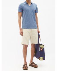 メンズ Oliver Spencer ホーソン オーガニックコットン ポロシャツ Blue