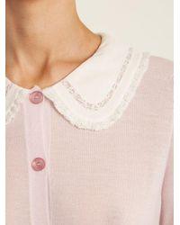 Rochas Pink Peter Pan Collar Cashmere Cardigan