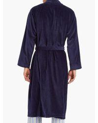 Peignoir en velours de coton Triton Derek Rose pour homme en coloris Blue