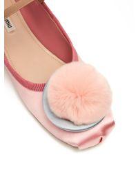 Miu Miu - Multicolor Fur-pompom Satin Ballet Flats - Lyst