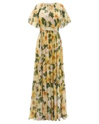 Dolce & Gabbana カメリアプリント ギャザー シルクドレス Multicolor