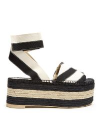 Stella McCartney | Black Striped Espadrille Platform Sandals | Lyst