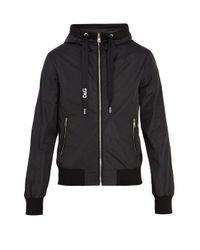 Dolce & Gabbana Black Logo-print Hooded Jacket for men