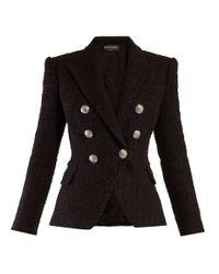 Balmain Black Double Breasted Tweed Blazer