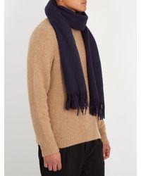 Acne Blue Canada Fringed Wool Scarf for men