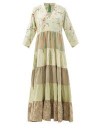 Rianna + Nina Green Patchwork Vintage-silk Maxi Dress
