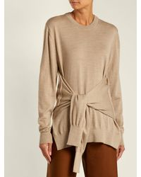 Chloé Natural Knotted Sleeve Waist Wool Sweater