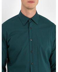 Prada Green Point-collar Cotton-blend Shirt for men