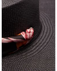 Chapeau de paille à ruban en satin Cordovez Sensi Studio en coloris Black