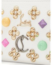 Christian Louboutin White Panettone Embellished Zip Around Leather Wallet