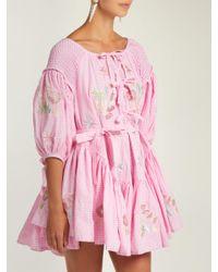 Innika Choo Pink Gingham Balloon Sleeve Cotton Dress
