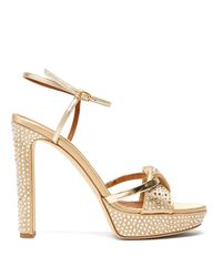 Malone Souliers Metallic Lauren Crystal-embellished Satin Platform Sandals