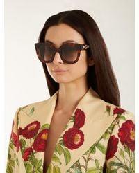 Gucci Brown Star-embellished Square-frame Sunglasses