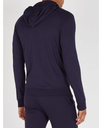 Paul Smith Blue Zip Through Hooded Sweatshirt for men
