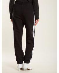 MSGM - Black Logo-print Cotton Track Pants - Lyst