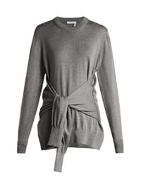 Chloé Gray Tie Front Wool Sweater