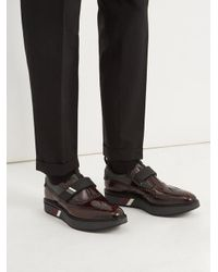 Prada Multicolor Stacked-sole Velcro®-strap Leather Brogues for men