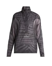Adidas By Stella McCartney Gray High-neck Mesh-panel Performance Jacket