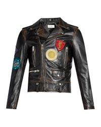 Saint Laurent Brown Badge-appliqué Leather Biker Jacket for men
