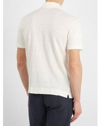Massimo Alba White Short-sleeved Linen-jersey Polo Shirt for men