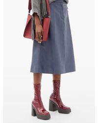 Stella McCartney フェイクパテントレザー プラットフォームアンクルブーツ Multicolor