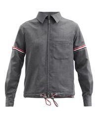 メンズ Thom Browne トリコロールストライプ ウールツイルジャケット Gray
