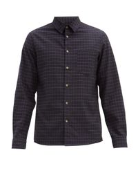 A.P.C. Blue Vico Checked Cotton-twill Shirt for men